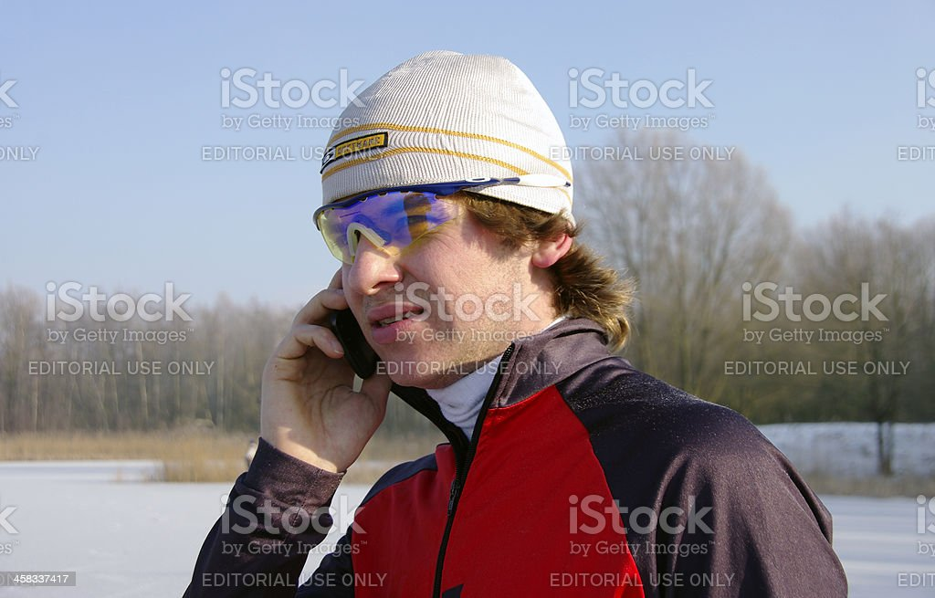 Phone call before the start royalty-free stock photo