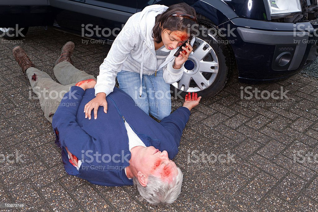 Phone call for an ambulance stock photo