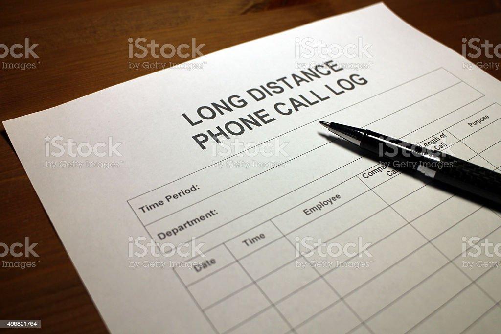 Phone Communication Log stock photo