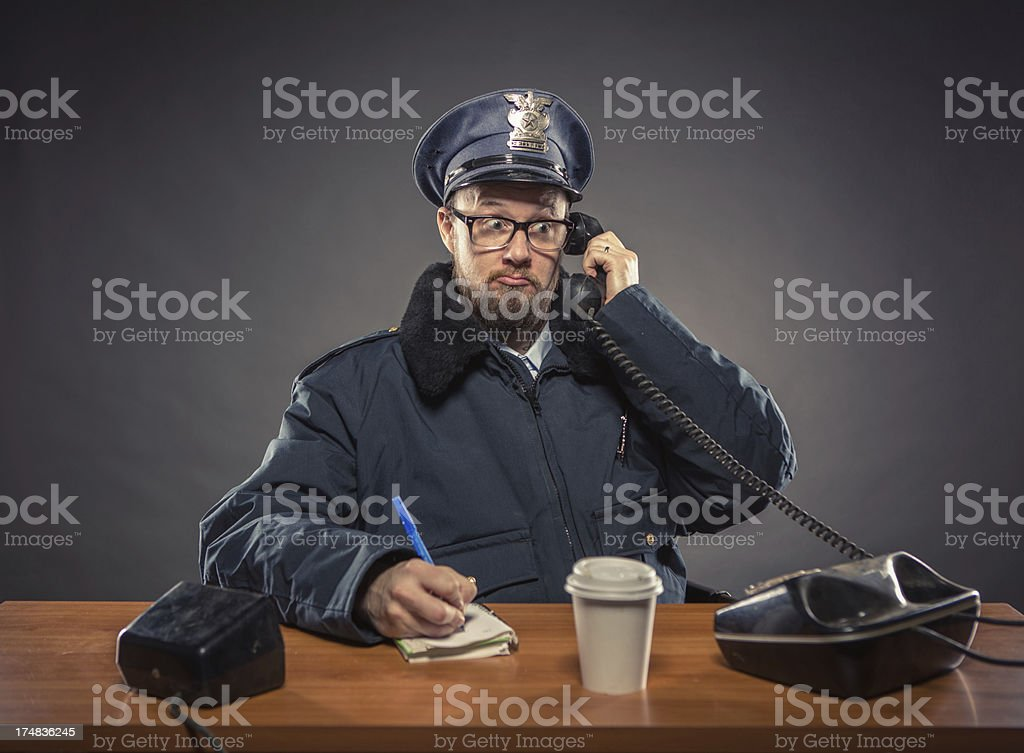 Phone Conversation:  Police Chief royalty-free stock photo