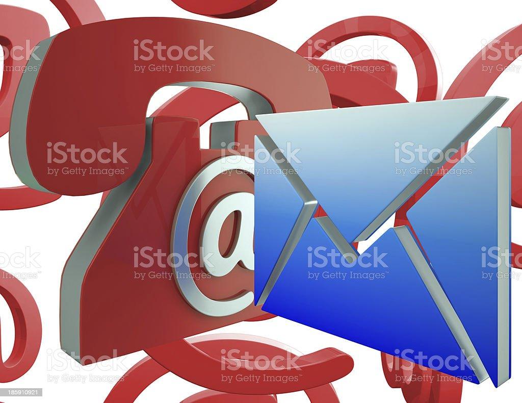 Phone Envelope Shows Telephone And Internet Communication royalty-free stock photo