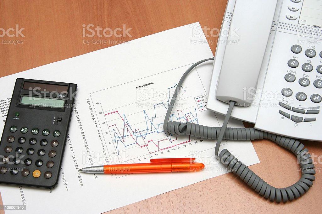 Phone graph & calculator II royalty-free stock photo