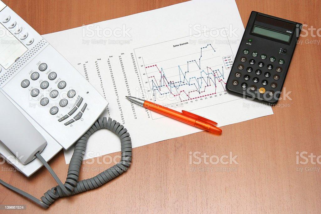 Phone graph & calculator royalty-free stock photo