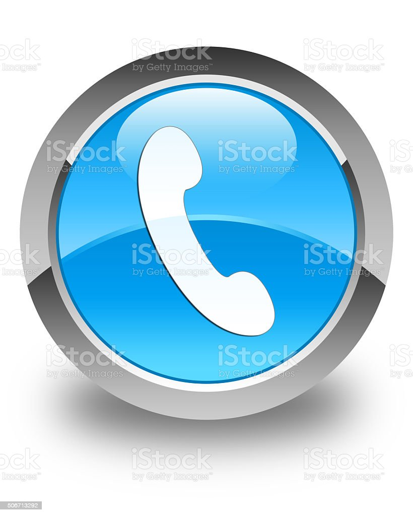 Phone icon glossy cyan blue round button stock photo