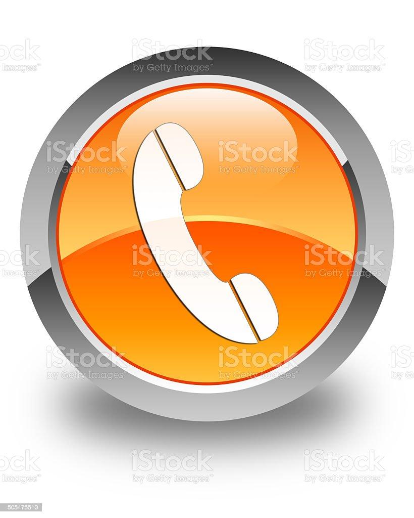 Phone icon glossy orange round button 4 stock photo