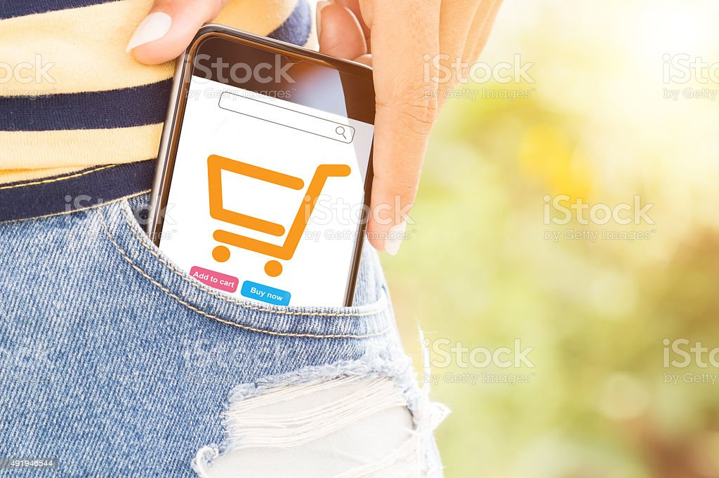 phone in bag easily lifestyle concept stock photo