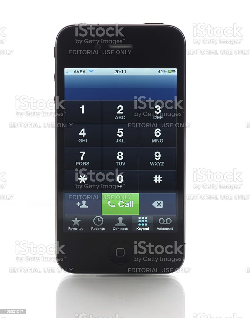 Phone keyboard on iPhone 4 royalty-free stock photo