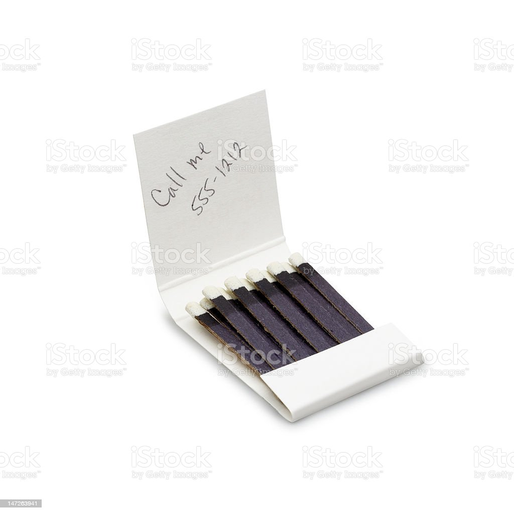 Phone number on Matchbook stock photo