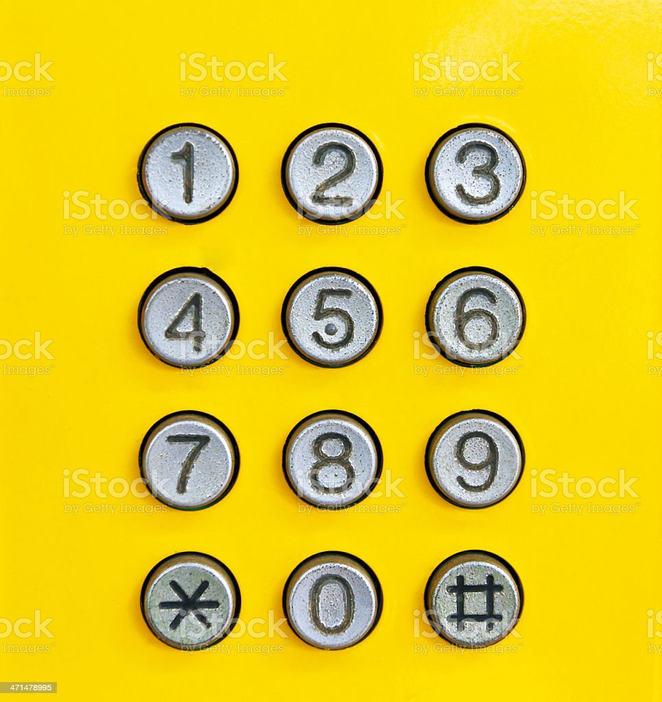 Phone numbers on yellow background stock photo