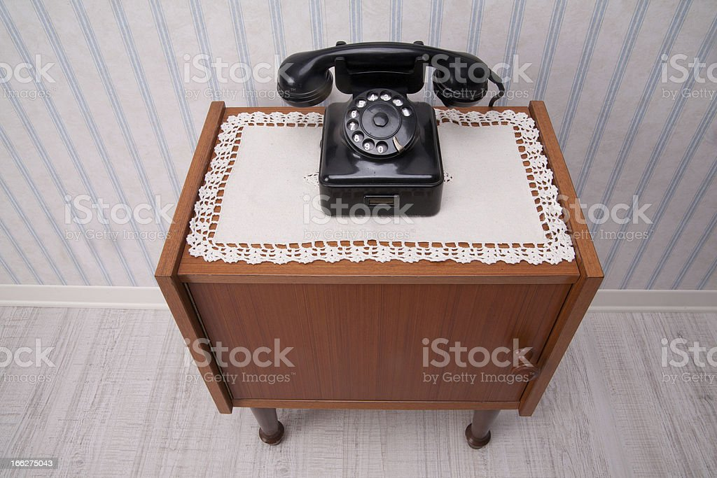 phone on bedside table royalty-free stock photo