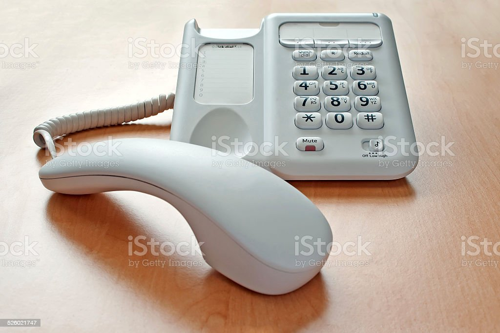Phone on Desk On Hold stock photo