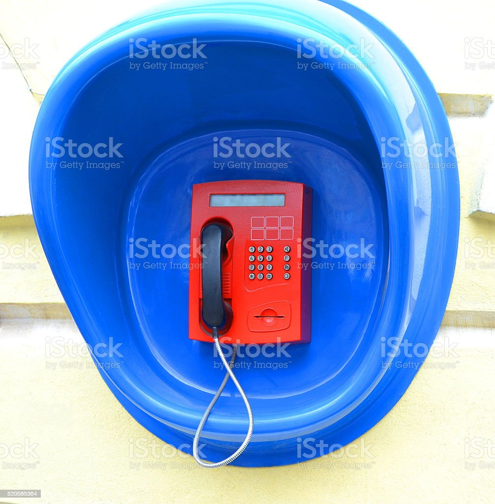 Phone on the wall stock photo