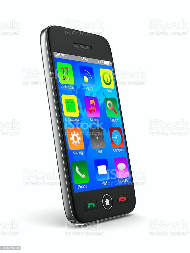 phone on white background. Isolated 3D image stock photo