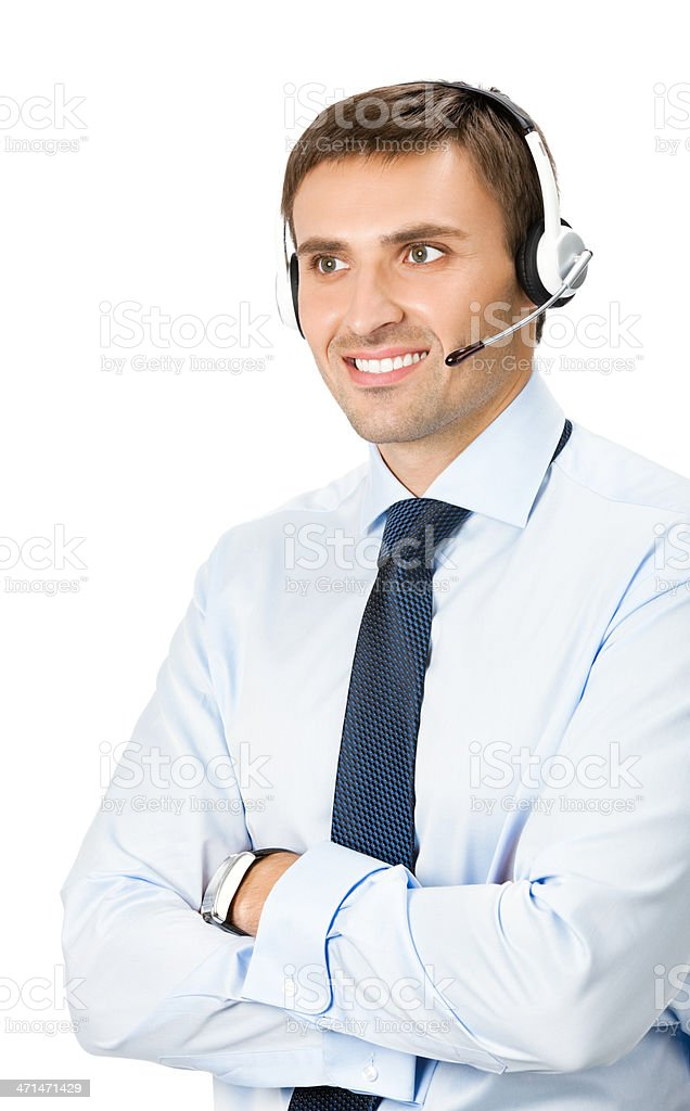 Phone operator in headset, isolated royalty-free stock photo