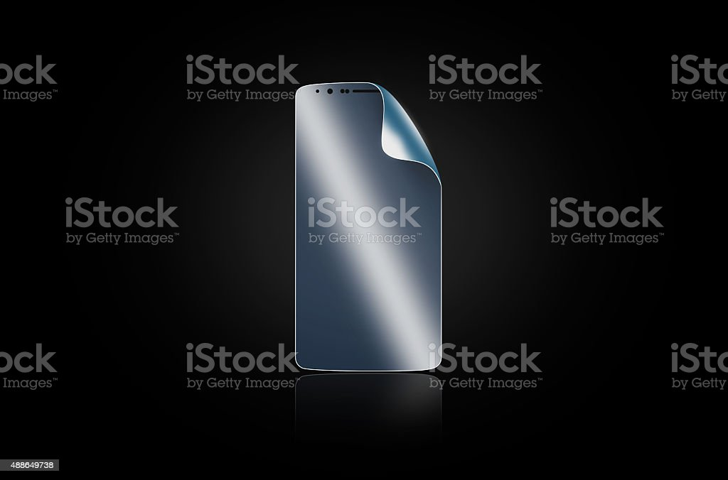 Phone protection film. Smartphone display protector glass. stock photo