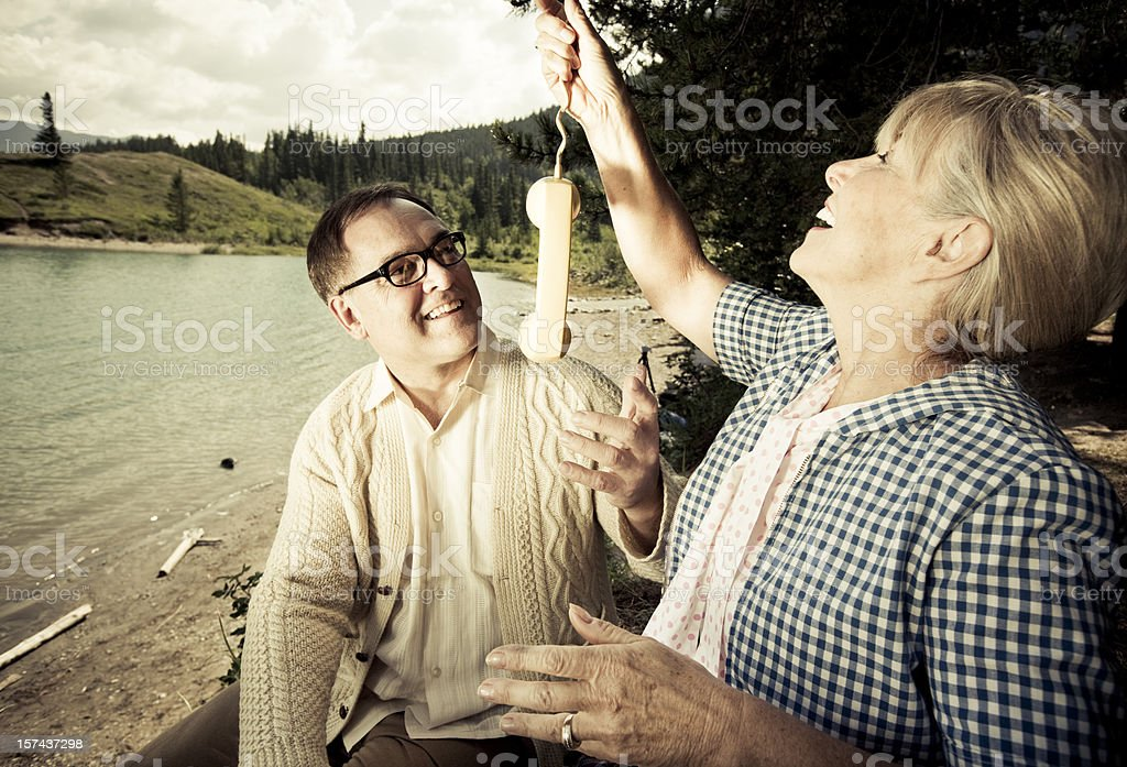 Phone services in the forest royalty-free stock photo