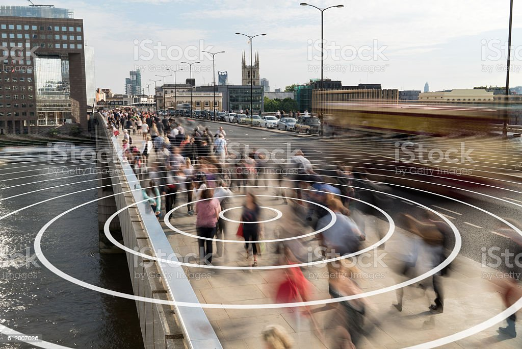 Phone signal from a person on a London bridge. stock photo
