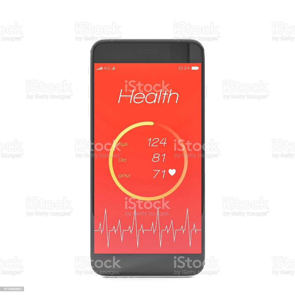 Phone with app for health card stock photo