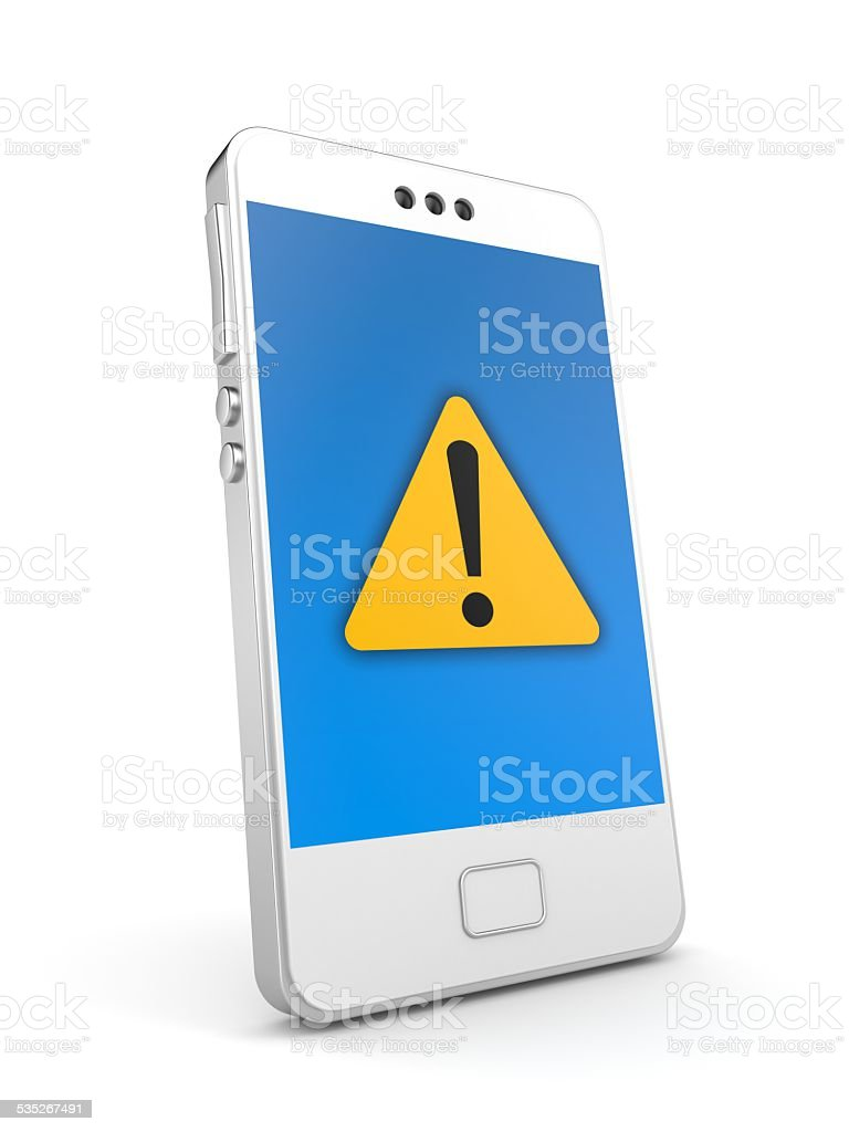 Phone with attention icon stock photo
