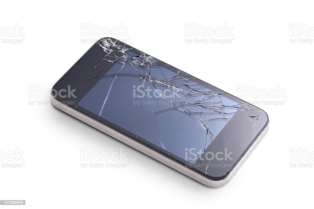 phone with broken display stock photo