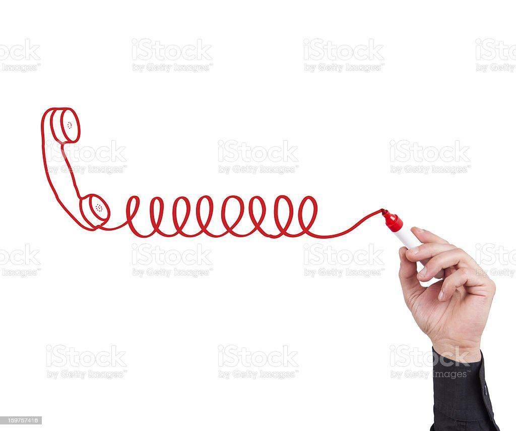 Phone with cable drawn by red marker royalty-free stock photo