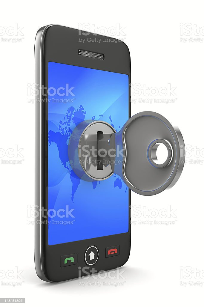 phone with key on white background. Isolated 3D image royalty-free stock photo