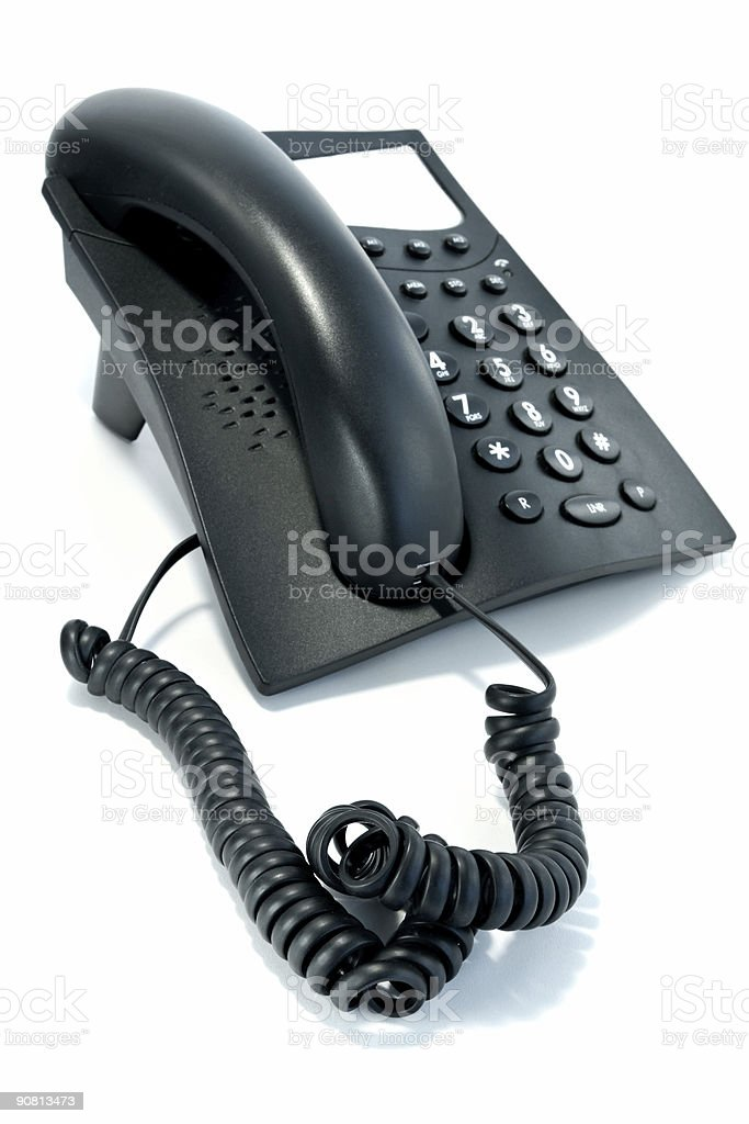 Phone with the twirled cord royalty-free stock photo