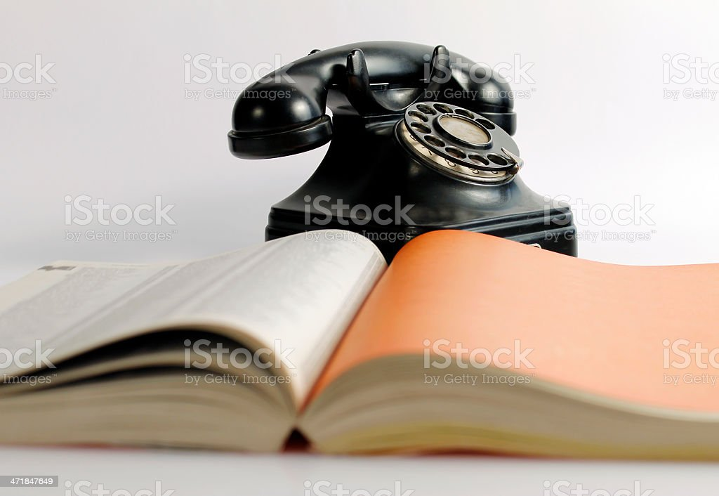 Phonebook and black phone royalty-free stock photo