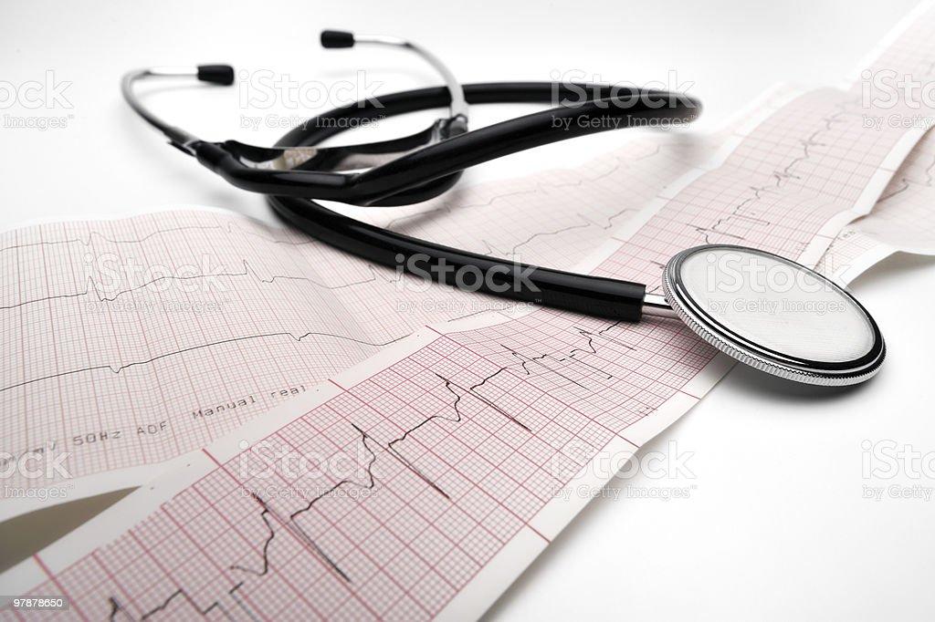 Phonendoscope and cardiogram royalty-free stock photo