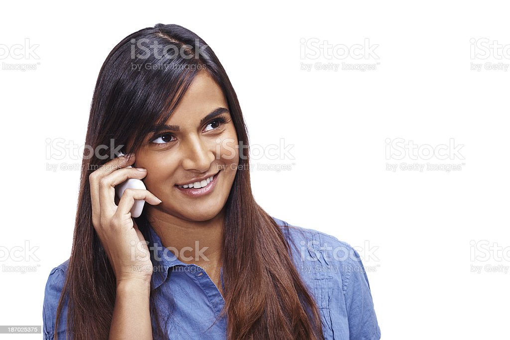 Phoning home for a quick chat royalty-free stock photo