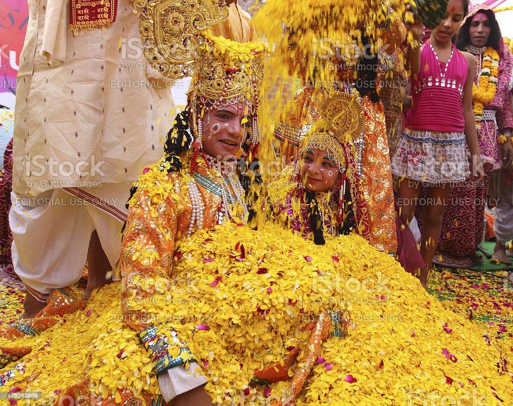 Phoolon Ki Holi : Holi with flowers stock photo