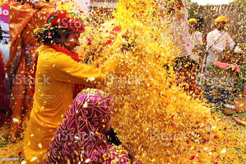 Phoolon Ki Holi : Holi with flowers stock photo