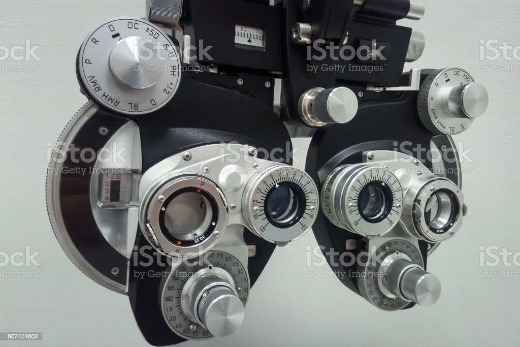 Phoropter  for an ophthalmic testing device stock photo