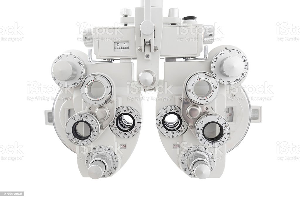 Phoropter, ophthalmic testing device machine stock photo