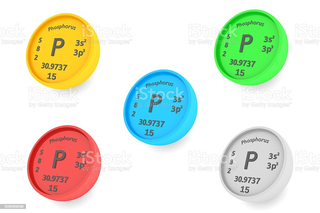 Phosphorus chemical element symbol stock photo