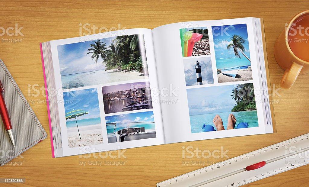 Photo album on the table stock photo