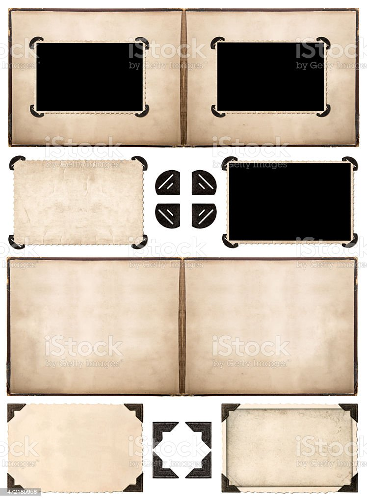 Photo album pages with retro style frames and corners stock photo