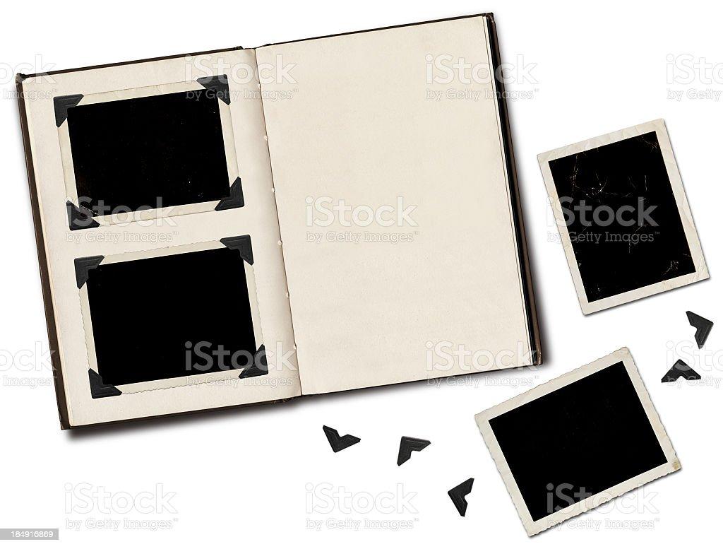 Photo album with blank black photos royalty-free stock photo