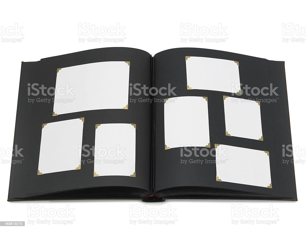 Photo album with blank pictures, isolated royalty-free stock photo