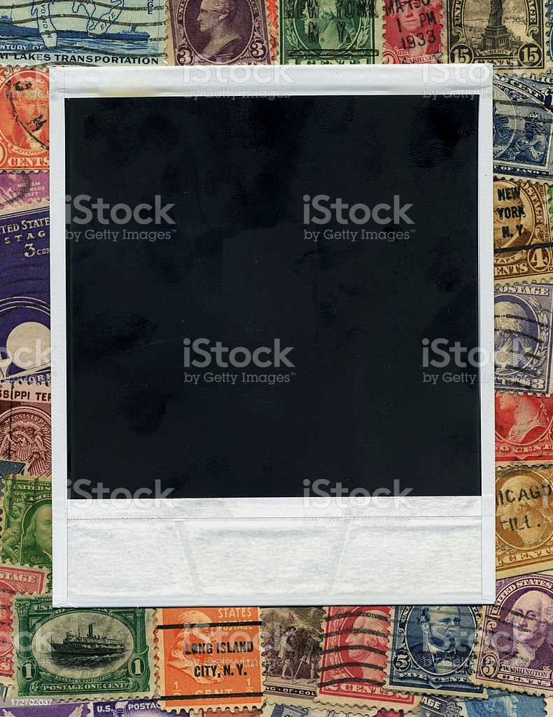 Photo and vintage USA stamps royalty-free stock photo