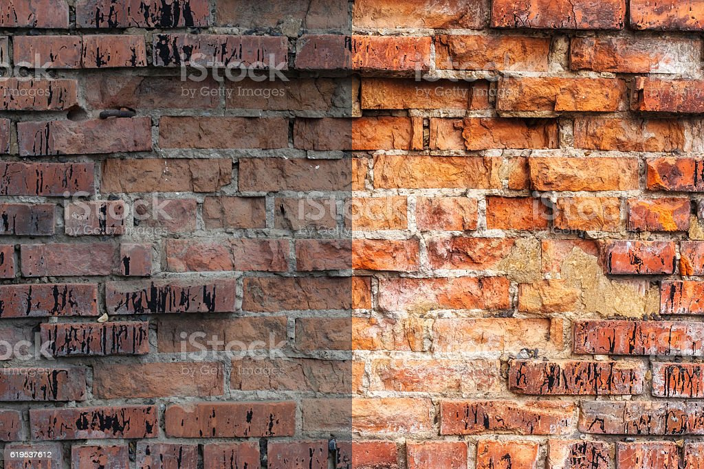 Photo before and after the image editing process. Brick wall stock photo