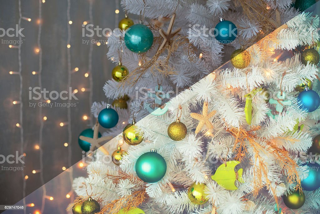 Photo before and after the image editing process. Christmas tree stock photo