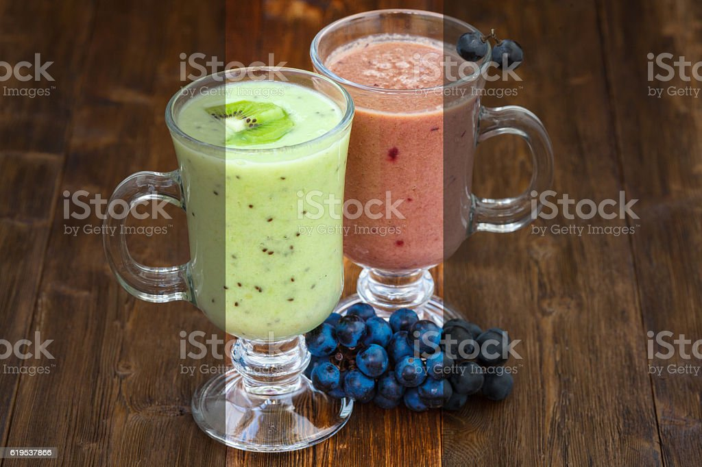 Photo before and after the image editing process. Fruit smoothie stock photo