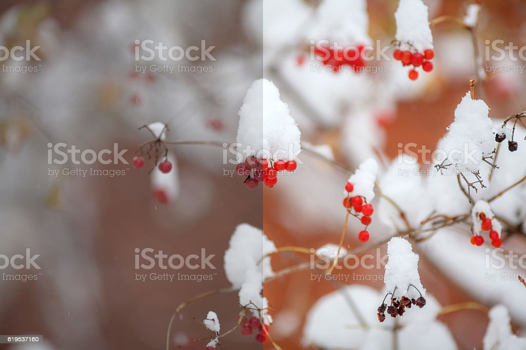 Photo before and after the image editing process. Winter scene stock photo