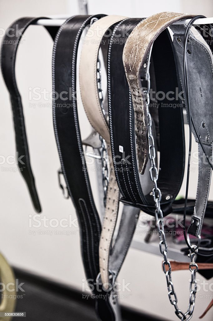 Photo belts for strength training weightlifter stock photo