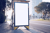 Photo blank lightbox on bus stop in the modern city