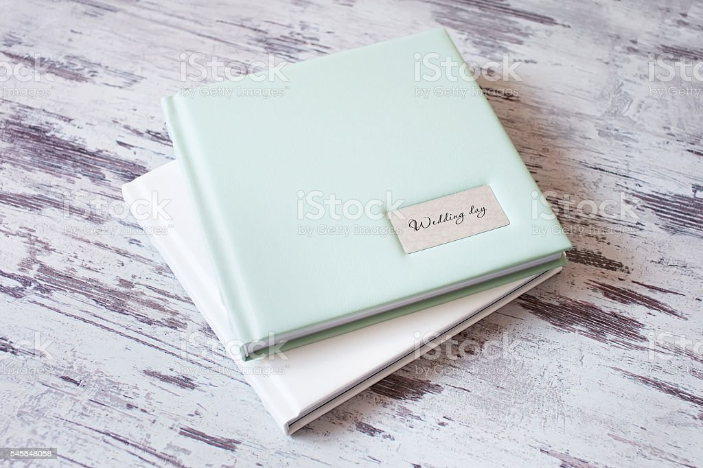 Photo books with a cover of leatherette stock photo