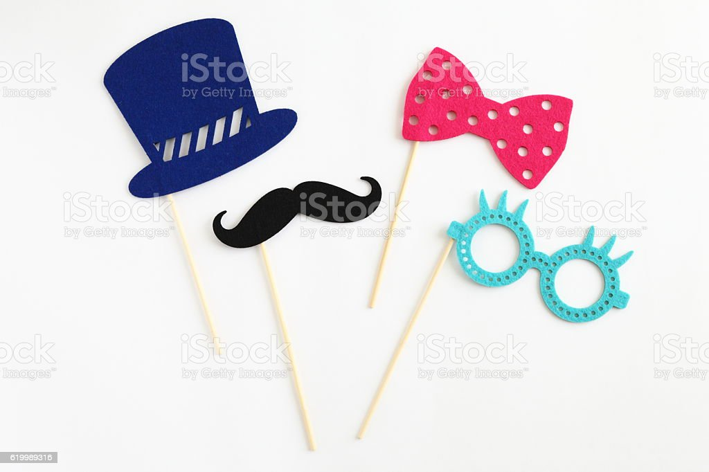 Photo booth colorful props for party stock photo