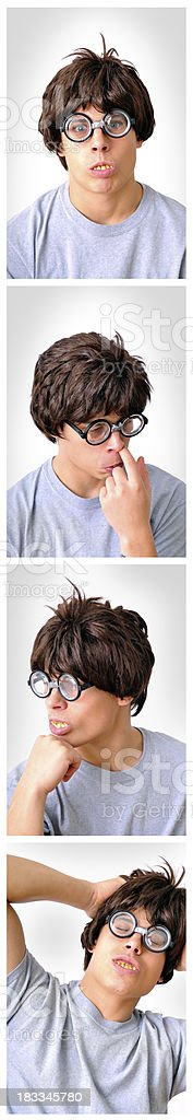 Photo Booth Picture Strip with Nerdy Boy stock photo