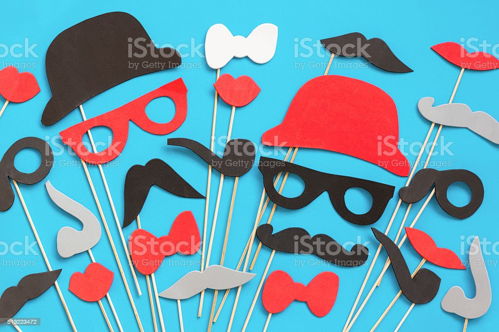 Photo booth props collection for party stock photo